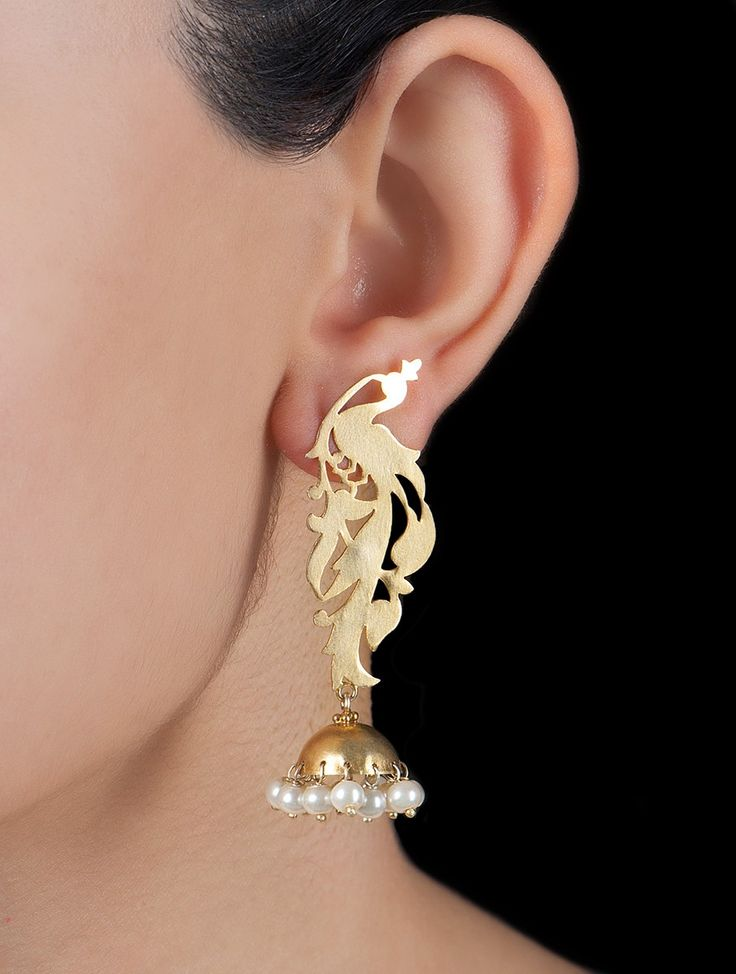 Buy Golden Ivory Peacock Pearl Silver Earrings by Deepa Sethi Pearls Jewelry Online at Jaypore.com
