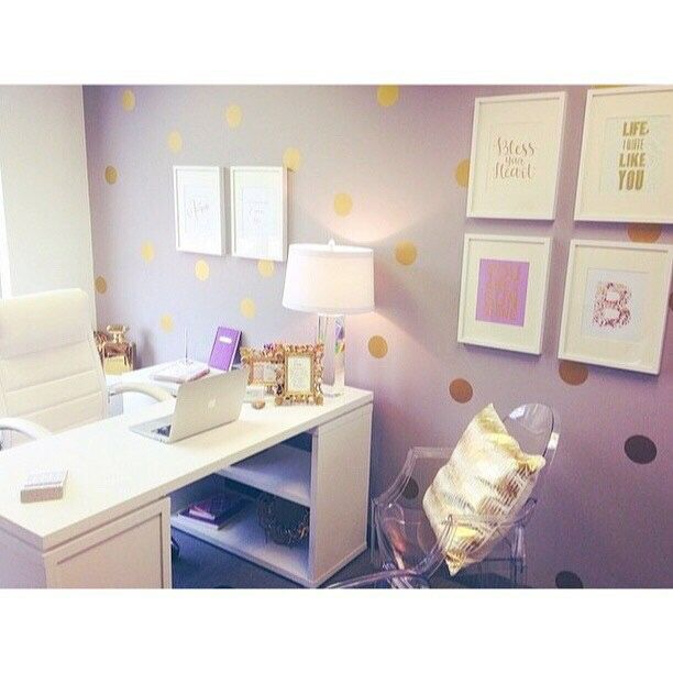 Love the lilac wall with gold dots