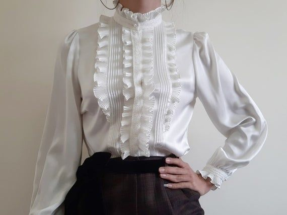 Sheer Crepe chiffon Edwardian Vintage Style Ruffle Shirt Blouse