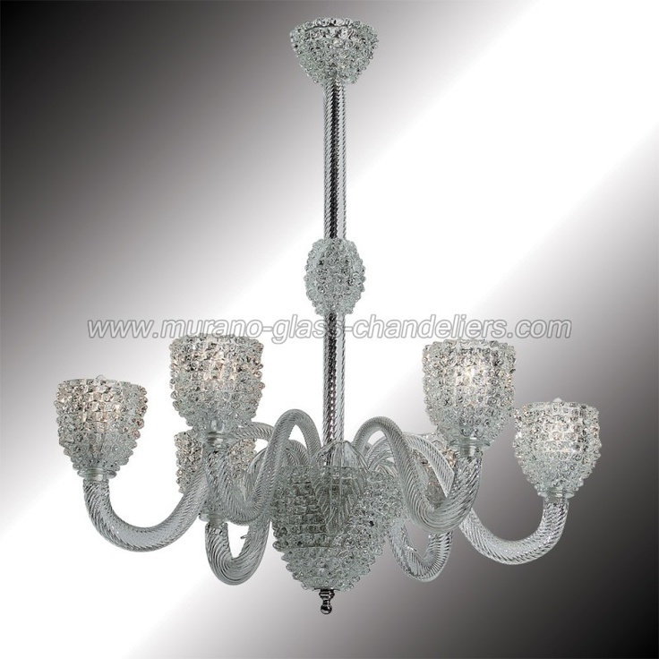 """Ghiaccio"" 6 lights transparent and white Murano glass chandelier"