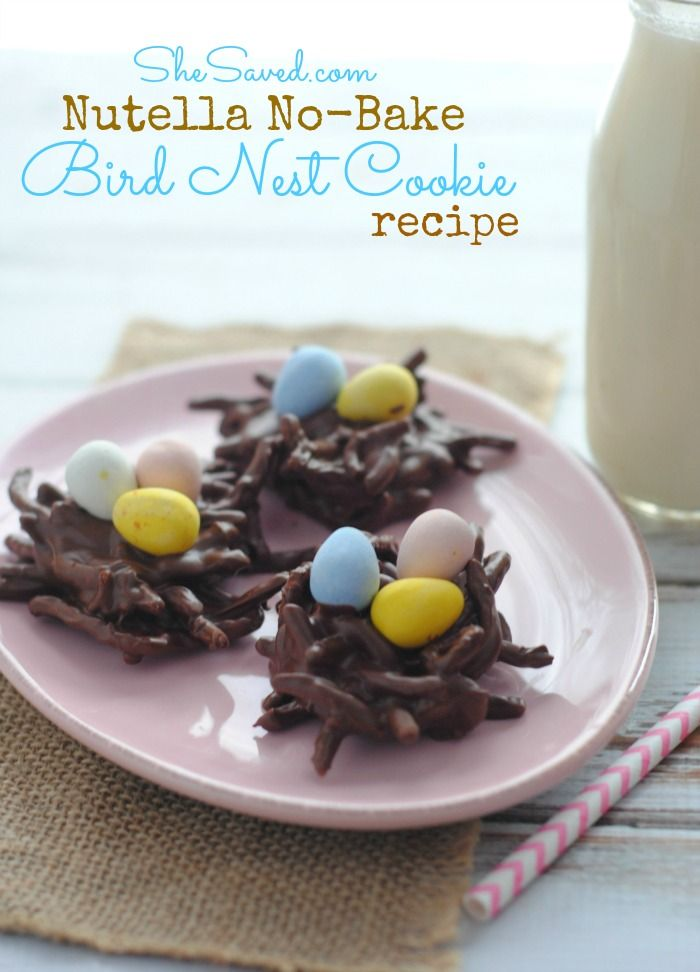 Nutella No-Bake Bird Nest Cookie Recipe ~ These cookies are so easy to make and the kids will LOVE helping you!