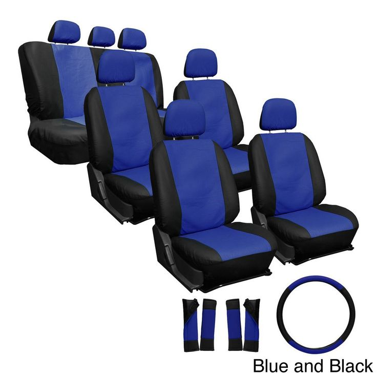 Oxgord Synthetic Faux Leather 23-piece Truck and Van Seat Covers (Blue/Black)
