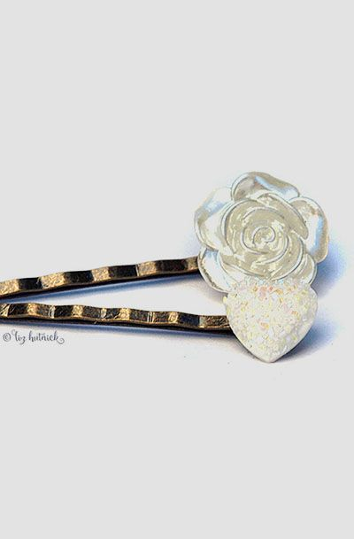 Rose and Glitter Heart Bobby Pins