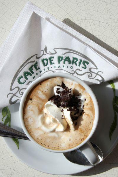 Coffee with chantilly cream, Cafe De Paris, Monte Carlo, Monaco