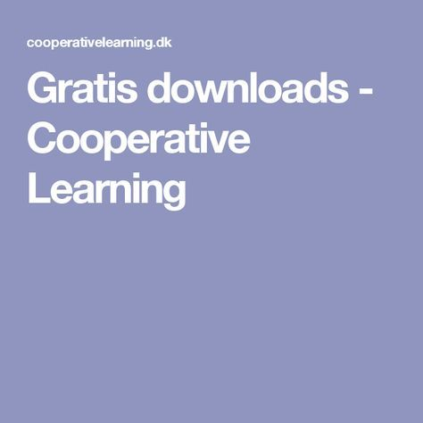 Gratis downloads - Cooperative Learning