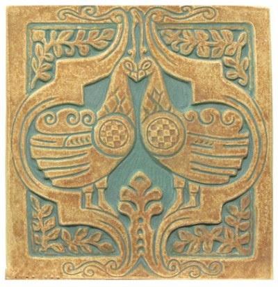 Peacock Tile 6 x 6. Batchelder Tile Company.