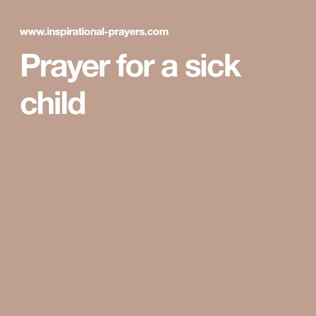 Prayer for a sick child