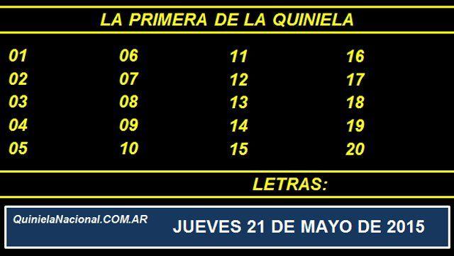 Quiniela Nacional La Primera Jueves 21 de Mayo de 2015. Fuente: http://quinielanacional.com.ar Pizarra del sorteo desarrollado en el recinto de la Loteria Nacional a las 11:30 horas. La jugada se efectuó con total normalidad.