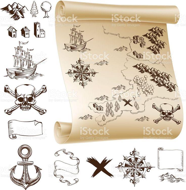 Карта сокровищ kit Сток Вектор Стоковая фотография