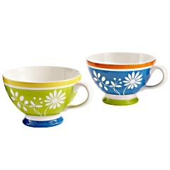 Cafe Au Lait Flowers Mugs