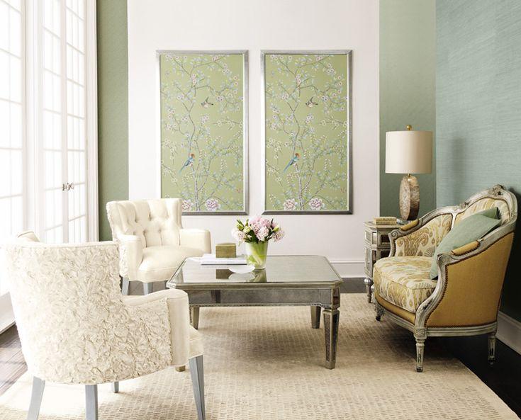 Frames Wallpapers, Living Rooms, Decor Ideas, Wallpapers Art, Emeralds Green, Livingroom, Green Design, Colors Schemes, Wallpapers Panels