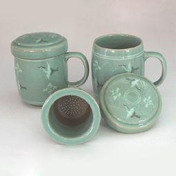 Celadon Porcelain Tea Mug Set with Strainers and Lids