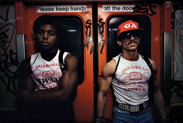 Guardian Angels on the New York City subway, 1980 - Guardian Angels first made an appearance on the New York subway in 1979 in an attempt to quell rising levels of violence. As in all of New York, crime was rampant in the subway in the 1970s. Thefts, robberies, shootings and killings became more frequent. The subway cars were very often graffiti-painted or vandalism-damaged both inside and outside.