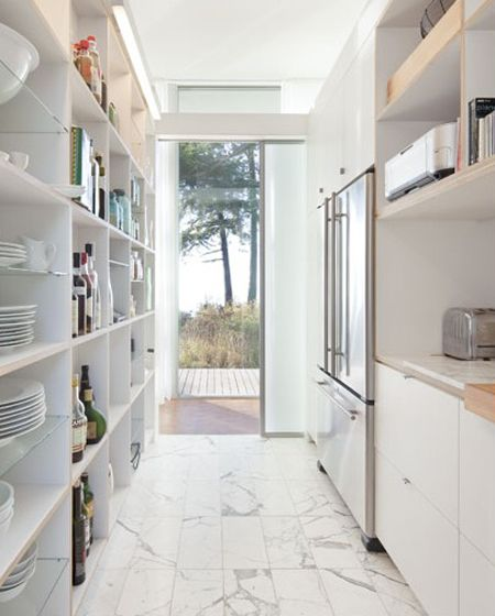 White Galley Kitchen With Open Shelving