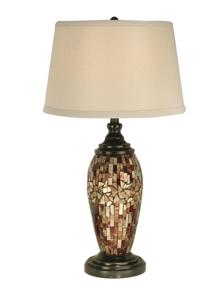 Dale Tiffany Lighting (PG10411) Mosaic Oval Art Glass Table Lamp Shown In  Dark Antique