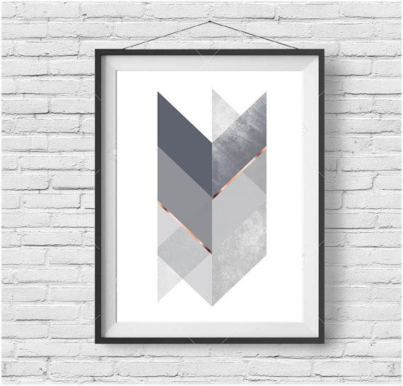 Gray Print, Chevron Wall Art, Scandinavian Print, Scandinavian Decor, Abstract Art, Gray Home Decor, Tribal Art, Printable Art, Digital Art