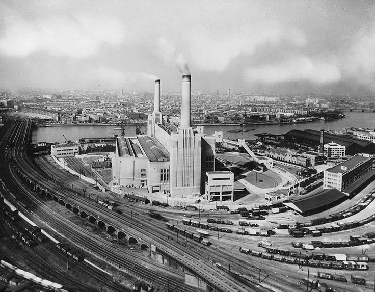 Battersea Power Station, Battersea, Wandsworth, London, 1936. The Power Station has been converted to 3,992 apartments, 3 hotels and more than 250 shops and restaurants, leisure facilities, a six-acre riverside park and it's own tube station.