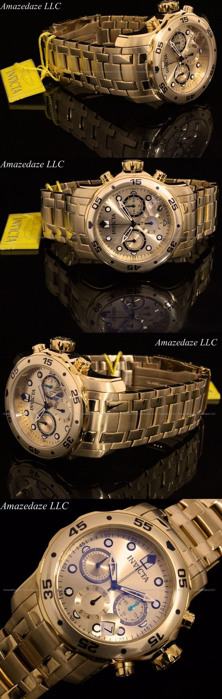 Wristwatches 31387: New Invicta Mens 18K Gold Plated Stainless Steel Chronograph 200M Scuba Watch -> BUY IT NOW ONLY: $104.99 on eBay!