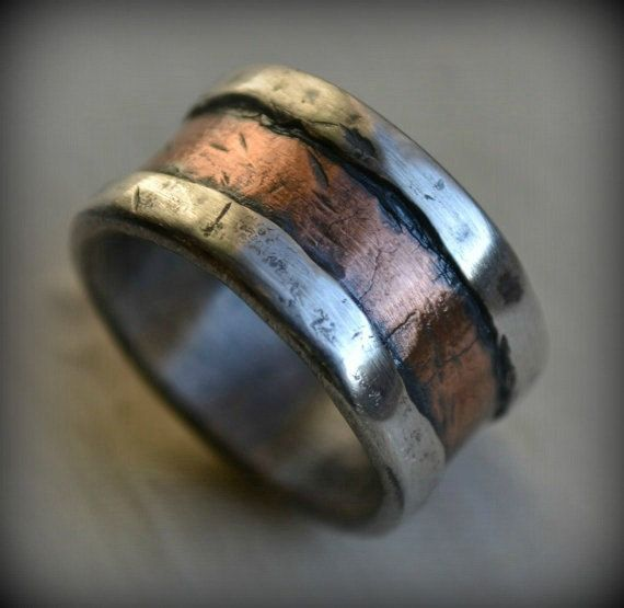 mens wedding band  rustic fine silver and copper  handmade
