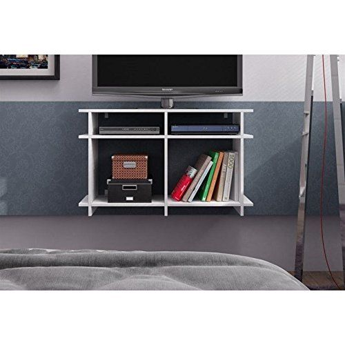 """Manhattan Comfort Wellington 48"""" TV Stand in White. TV Stand. Fits upto 35"""" TV Screen. Includes 4 Open Shelves. Protruding Shelves. Option to hang onto your wall!."""