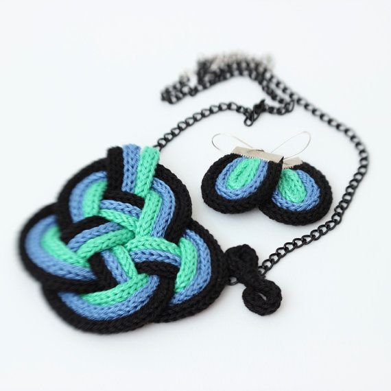 Black blue green Nautical style knot  set of necklace by NaTochki, icord tricotin