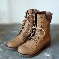 in the woods ankle sweater boots tan - shophearts - 1