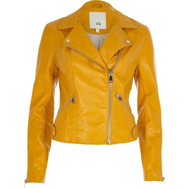 River Island Mustard yellow faux leather biker jacket (450 SAR) ❤ liked on Polyvore featuring outerwear, jackets, coats / jackets, women, yellow, zip jacket, tall motorcycle jacket, yellow jacket, vegan moto jacket and fake leather jacket