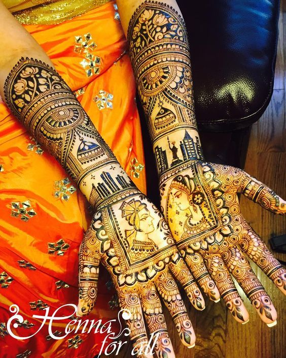 Trending mehndi designs for brides | Bridal henna inspiration | Bride and groom portraits | Personalized mehendi designs | New York and Detroit skyline  motifs | Jhumka motifs | Henna tattoos | Indian brides | Credits: Henna For All | Every Indian bride's Fav. Wedding E-magazine to read. Here for any marriage advice you need | www.wittyvows.com shares things no one tells brides, covers real weddings, ideas, inspirations, design trends and the right vendors, candid photographers etc.
