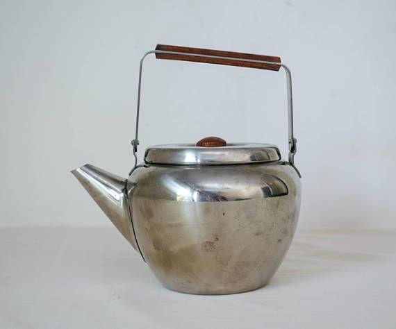 vintage silver teapot / mid century modern teapot / small pot