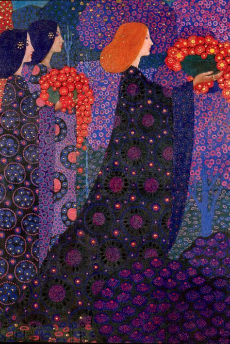 "The first part of panels for ""One Thousand and One Nights"" series for the Hotel Terminus, by Vittorio Zecchin, 1914."