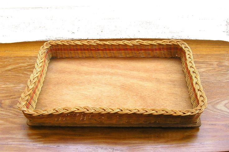 Vintage rustic wicker woven basket tray with wooden bottom caddy kitchen bathroom picnic hamper farmhouse country cottage storage Ireland by IrishBarnVintage on Etsy