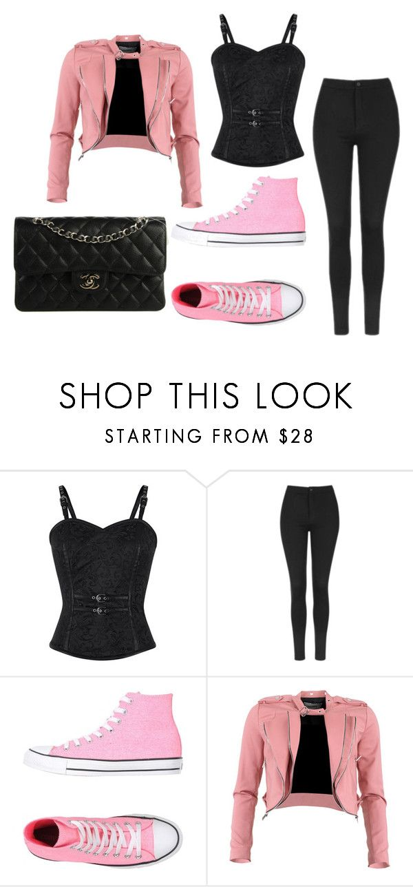 PINK!!!!!!! by isabellamateus on Polyvore featuring FRACOMINA, Topshop, Converse and Chanel