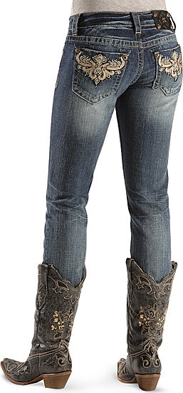 Miss Me Jeans - Scroll Embellished Pocket Skinny Jean  LOVE THE COUNTRY GIRL LOOK!  I LIVE IN A BARN...I NEED THESE