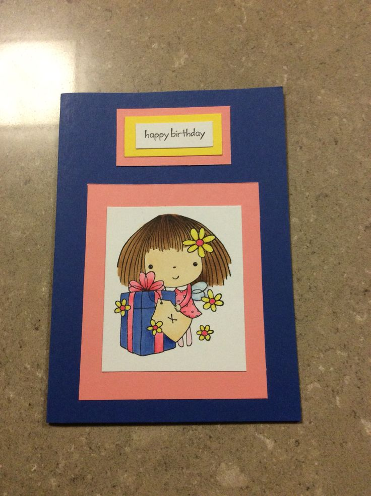 Cute girls birthday card.  Penny Black stamp - Sealed with a Kiss.
