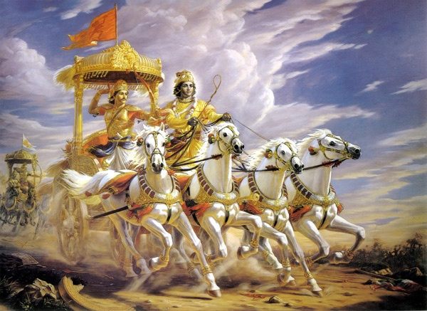 Lord Krishna leading prince Arjuna's chariot in the war of 'Mahabharata'.