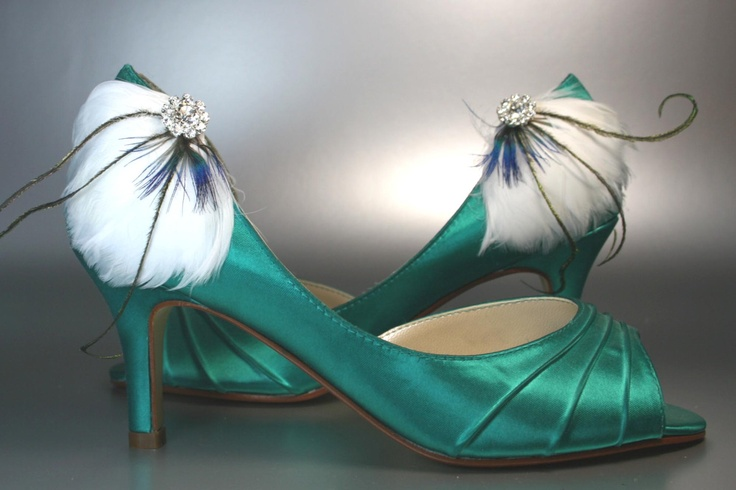 SAMPLE SALE Wedding Shoes -- Jade Green Wedding Peep Toes with White Feathers and Rhinestone Accent -- Size 6 Wide Only. $50.00, via Etsy.