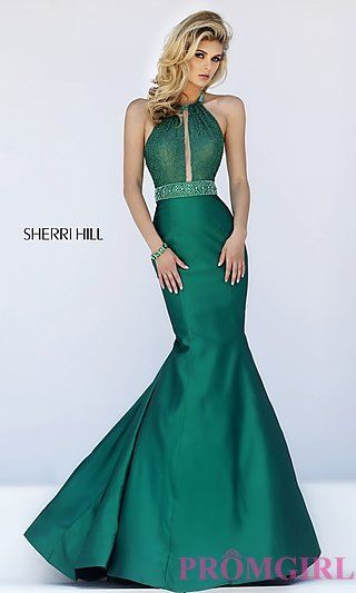 Mermaid Style Halter High Neck Long Prom Dress by Sherri Hill at PromGirl.com