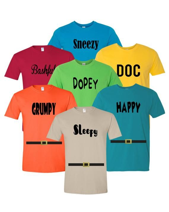 6ab7dd3fe 7 Dwarfs Shirts - Cosplay Costume Seven Dwarfs T Shirt Unisex Tee - 7 Dwarf  - Family, Cruise, Group Event Snow White and Seven Dwarf ADULT