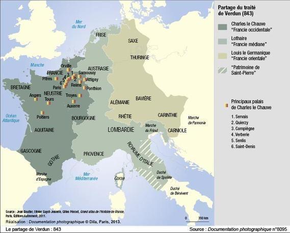 Principaux palais de Charles le Chauve. - CHARLES LE CHAUVE, 10) MARIAGE ET DESCENDANCE, 1: Le 4 décembre 842 à QUIERZY, Charles épouse ERMENTRUDE D'ORLEANS (Agilolfing). De cette union naquirent 8 enfants: *JUDITH DE FRANCE (V 843-870), qui épouse 1) ép. en 856 AETHELWULF DE WESSEX (795- +858), roi de Wessex (856-858), 2) ép. en 858 AETHELBALD DE WESSEX (829- +860), fils du précédent époux, 3) ép. BAUDOUIN 1° dit BRAS DE FER (maison de Flandres).