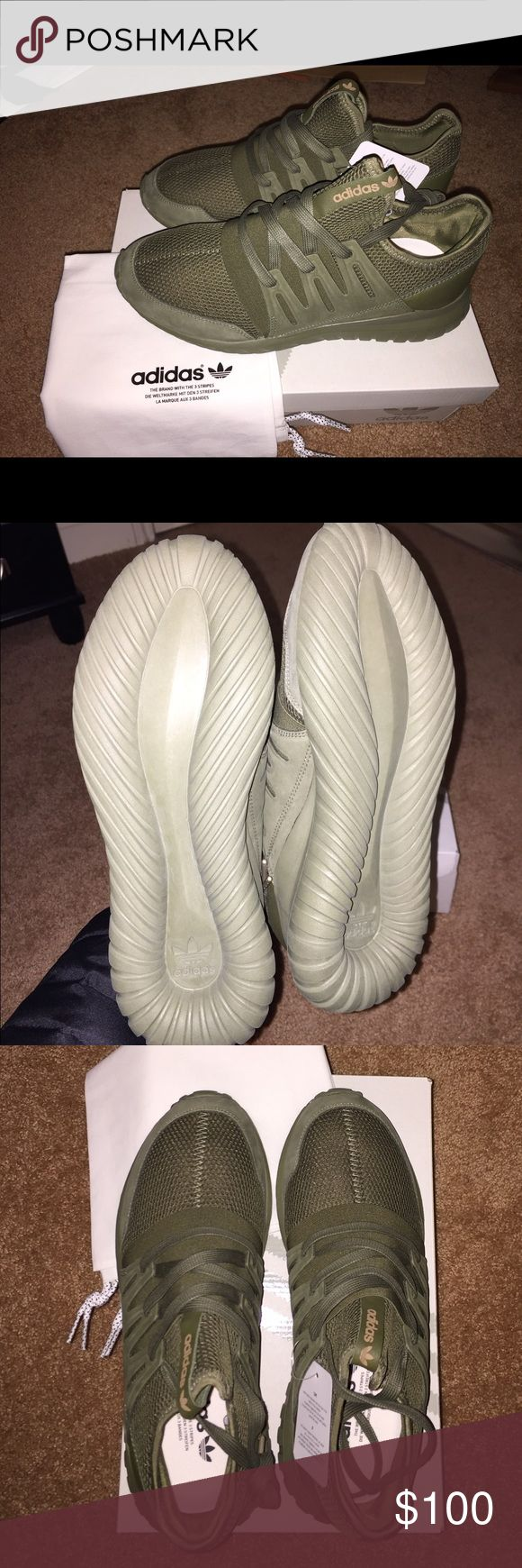 Custome olive green adidas sneakers Brand new, never worn, too big. Adidas Shoes Sneakers