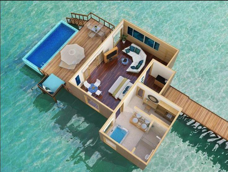 Water Villa, Bungalow Floor Plans, Overwater Bungalows, Island Resort,  Tropical Design, Maldives, Vacation Ideas, Villas, Resorts