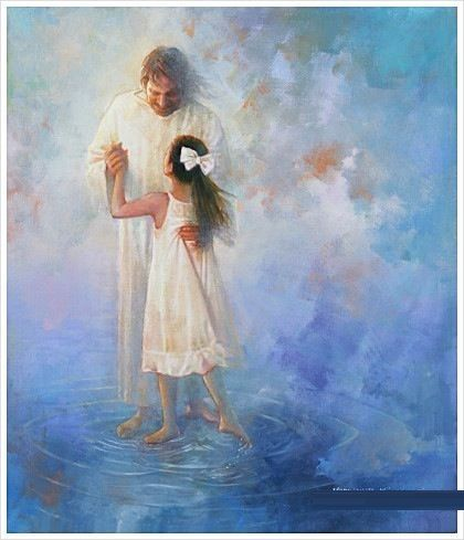 Jesus dancing with little girl. Prophetic art.