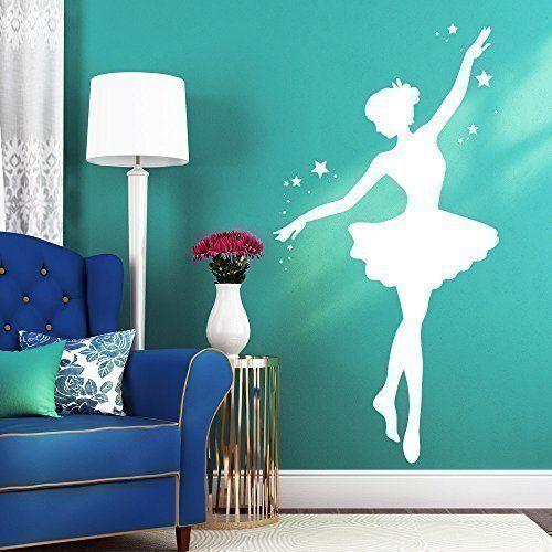 """Wandtattoo Loft Wandaufkleber """"Ballerina mit Sternen"""" - Wandtattoo Ballett Tänzerin / 49 Farben / 4 Größen / weiß / 55 cm breit x 107 cm hoch, http://www.amazon.de/dp/B00R35NCA0/ref=cm_sw_r_pi_awdl_xs_E14kybYX8CG4J"""