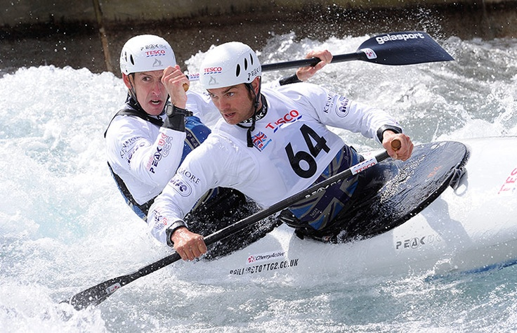 In the men's C2 class, Tim Baillie (front) and Etienne Stott power their way to second place in the first race in the UK canoe Olympic trials.