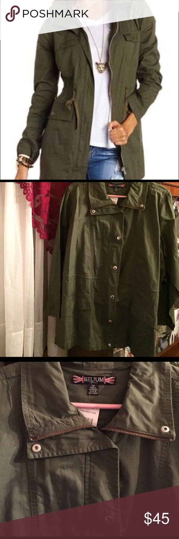 Helium Olive NWT Utility Jacket Beautiful Olive utility jacket in the size 2X buy helium of London. Snap front closure side pockets and adjustable snap sleeves and sides. Inside zipper and unlined. New with tag never worn. Helium of London Jackets & Coats Utility Jackets