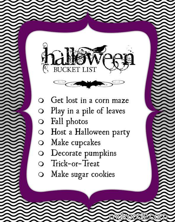 Halloween Bucket List - free printable