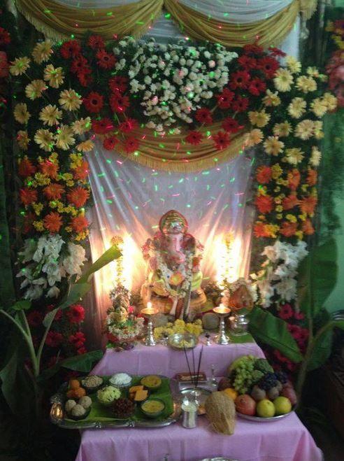 pooja decoration on Pinterest | Ganesh, Rangoli Designs and Diwali