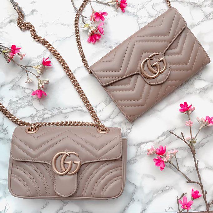 db0f8dd99 Size Comparison of Gucci GG Marmont Matelasse Wallet on a Chain and Gucci  Mini GG Marmont