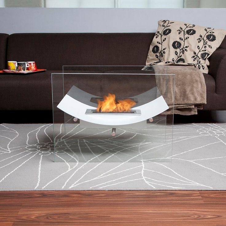 Moda Flame Sienna Free Standing Indoor Outdoor Bio Ethanol Fireplace White Outdoor Modern Home