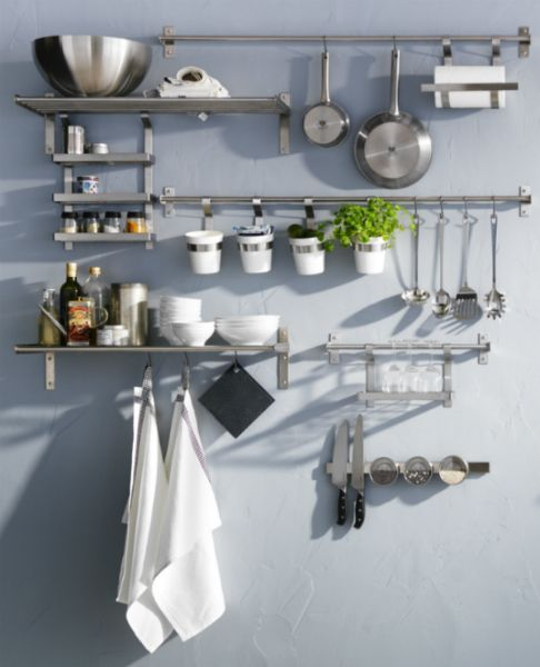 Grundtal series offers space saving stainless steel Ikea hanging kitchen storage